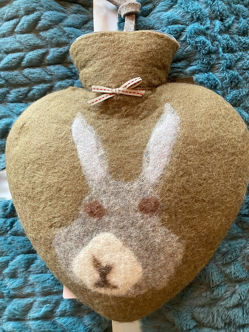 Bouillotte coeur laine bouillie