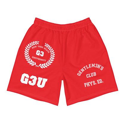 G3 University Men's Athletic Red Long Shorts