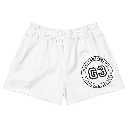 Women's Varsity White Athletic Short Shorts