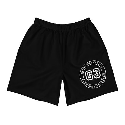 Men's Varsity Black Athletic Long Shorts