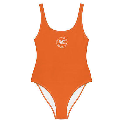 Varsity Orange One-Piece Swimsuit