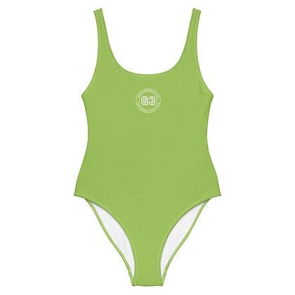 Varsity Light Green One-Piece Swimsuit