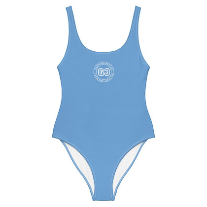 Varsity Sky Blue One-Piece Swimsuit