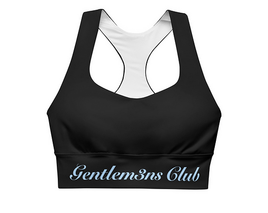 Gentlem3n's Club Sky Blue Script Longline sports bra