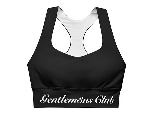 Gentlem3n's Club White Script Longline sports bra