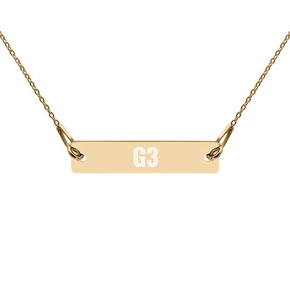 G3 Engraved Gold and Silver Bar Chain Necklace