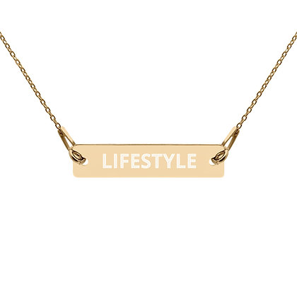LIFESTYLE Engraved Gold and Silver Bar Chain Necklace