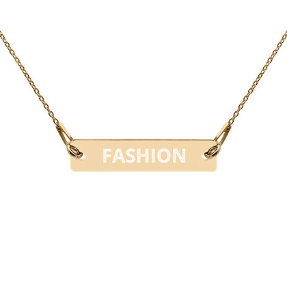 FASHION Engraved Gold and Silver Bar Chain Necklace