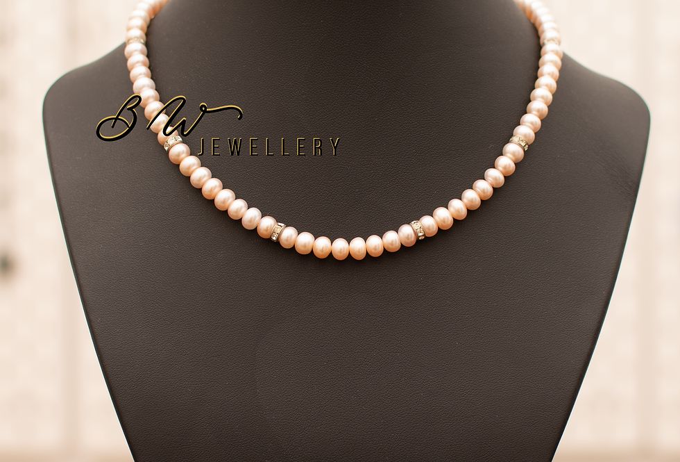 Peach Pearl Matinee with Swarovski Studded Rings