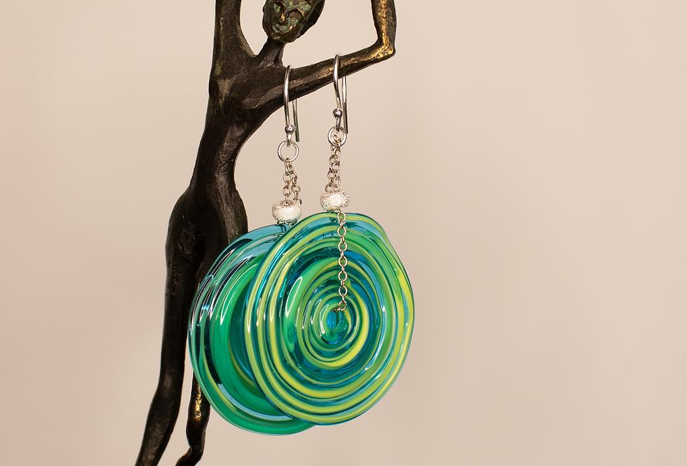 Green Artisanal Glass Earrings