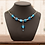 Thumbnail: Blue Stained Glass & Sterling Silver Necklace