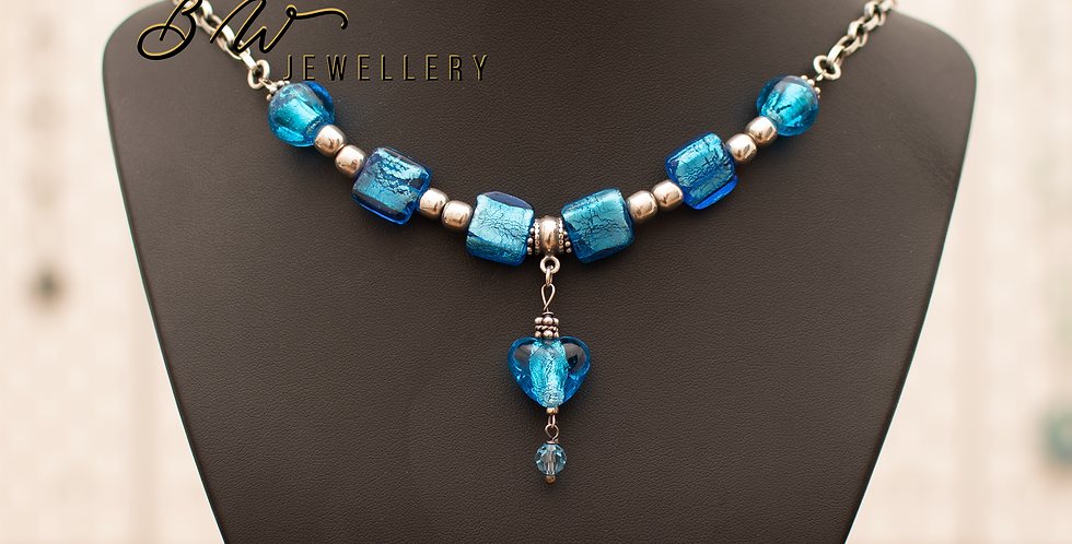 Blue Stained Glass & Sterling Silver Necklace