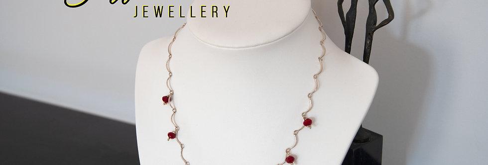 Semi-Precious Garnets On Silver Chain