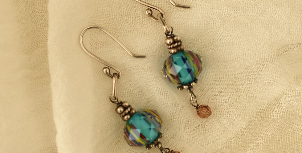Multicolored Crystal & Swarovski Wire Hook Earrings