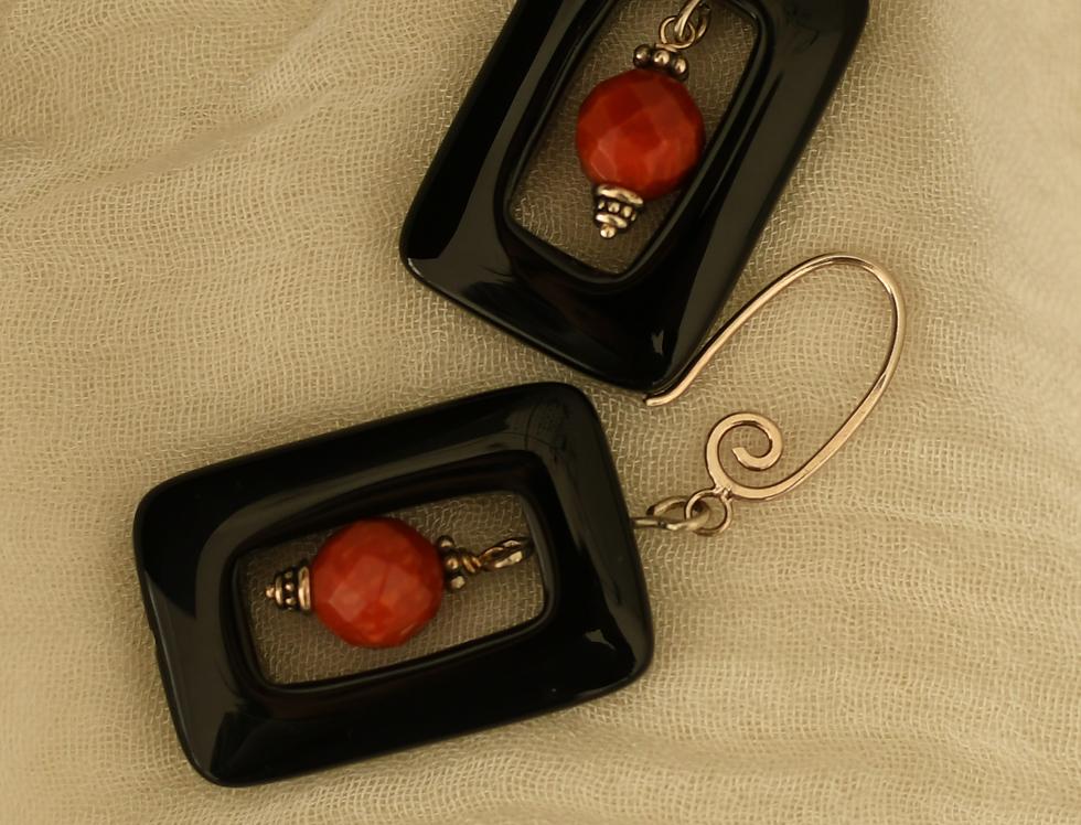Black Agate & Red Coral Bead Earrings