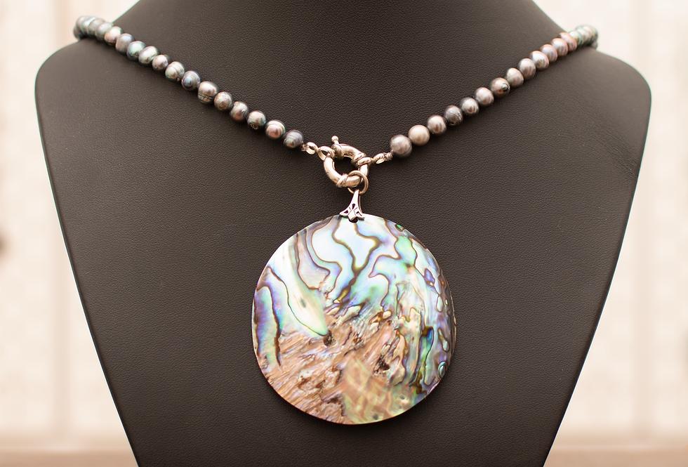 Iridescent Abalone Medallion & Freshwater Pearls