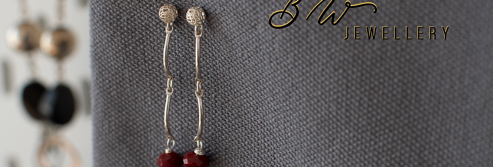 Red Garnet & Sterling Silver Drop Earrings
