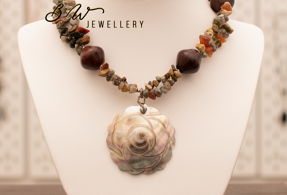 Water Stone & Mother Of Pearl Pendant
