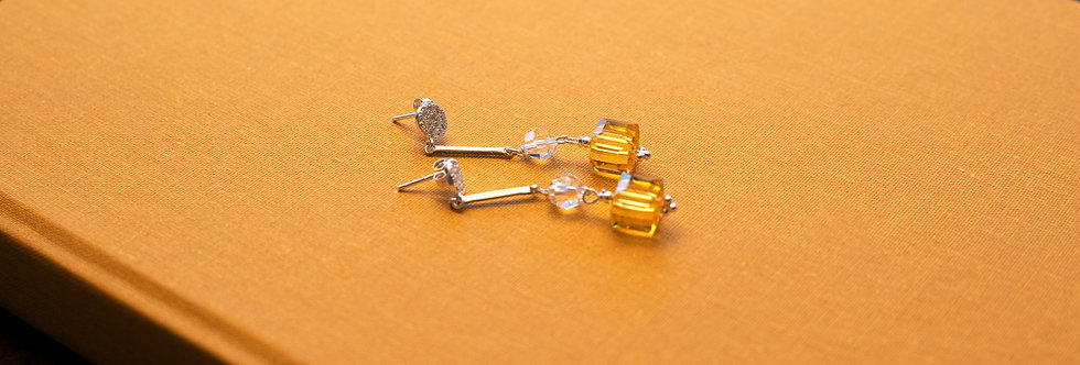 Yellow & Clear Swarovski Crystal Earrings