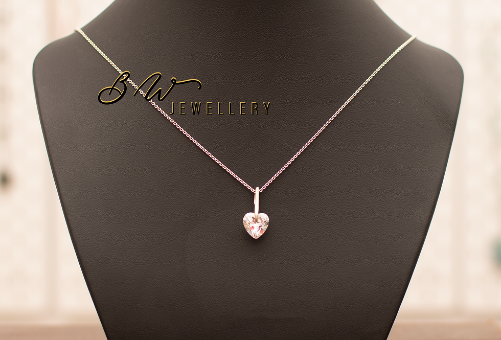 Crystal Heart on Silver Chain