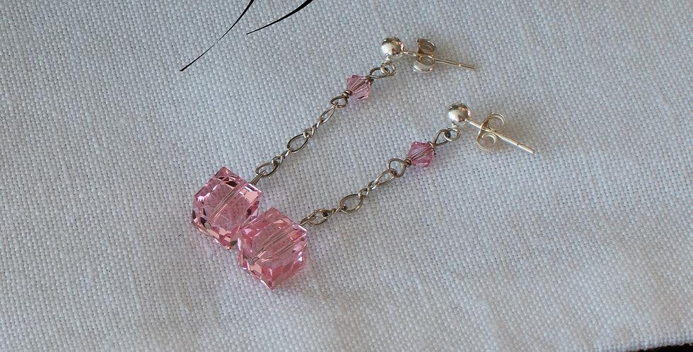 Pink Swarovski Drop Earrings