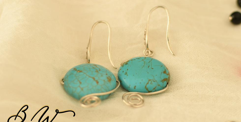 Turquoise Silver Hook Earrings