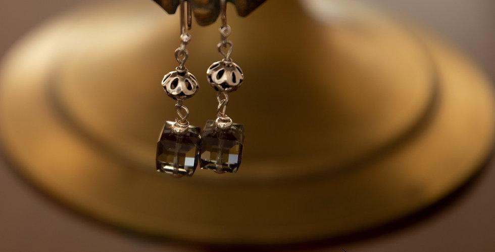 Grey Swarovski & Silver Earrings