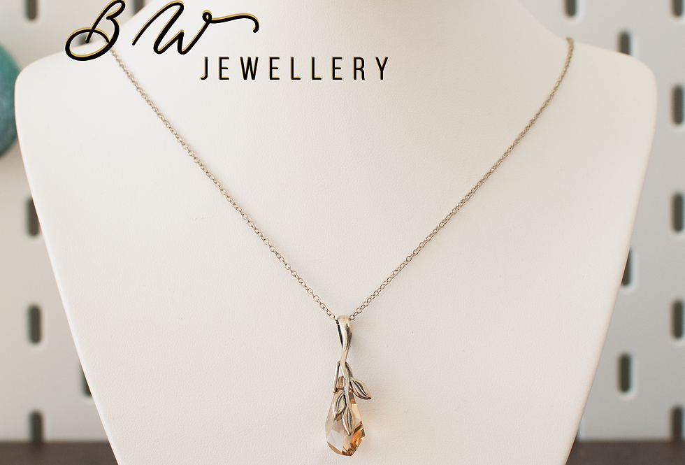 Amber Swarovski & Sterling Silver Pendant