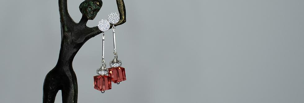 Coral Colored Swarovski & Zirconia Earrings