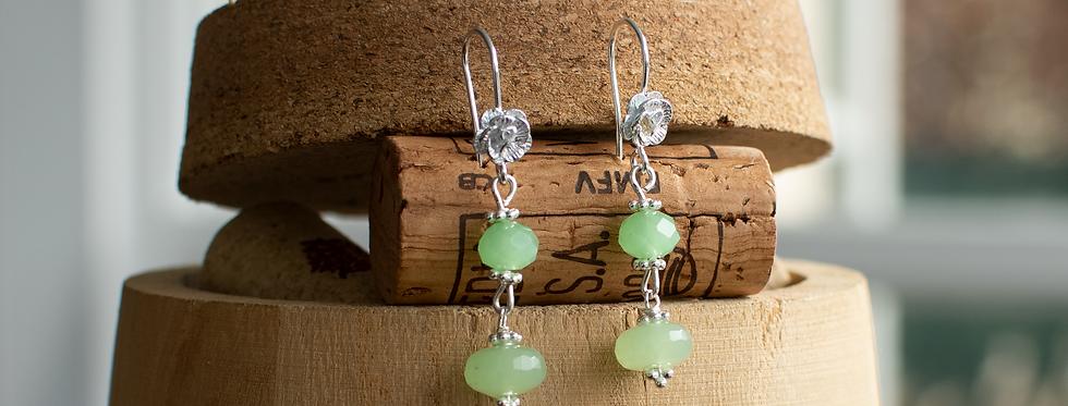 Jadeite & Silver Flower Earrings