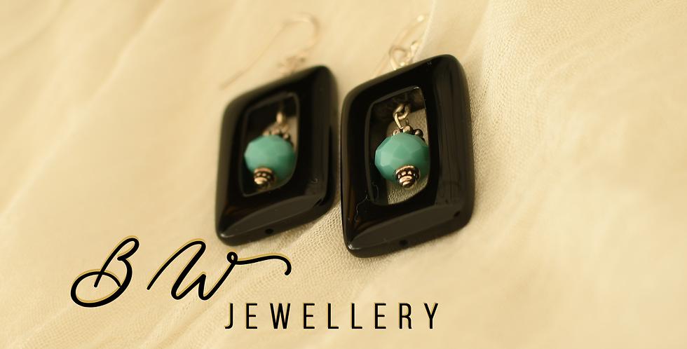 Black Agate & Turquoise Bead Earrings
