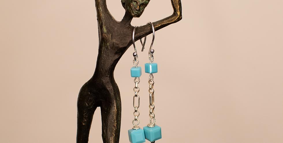 Turquoise Swarovski & Silver Dangler