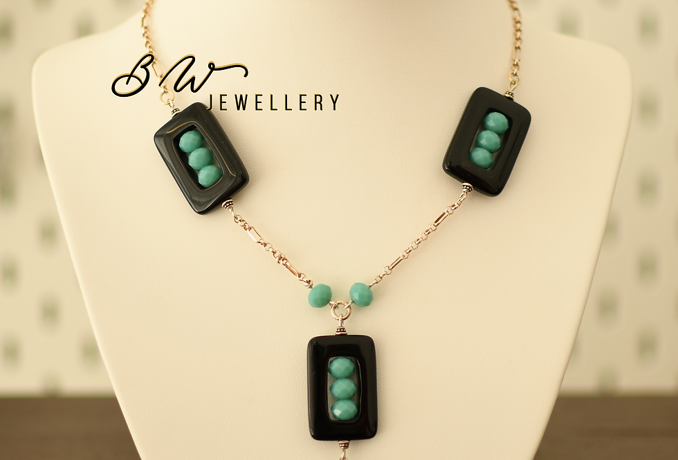 Silver, Onyx, & Turquoise beads
