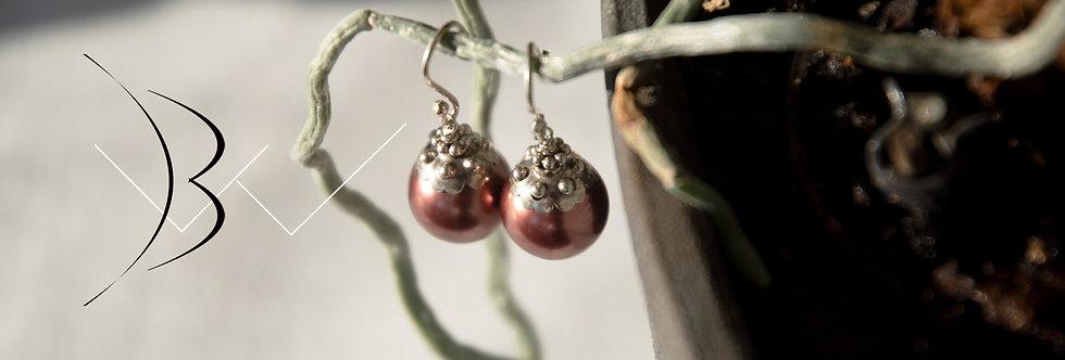 Light Brown Swarovski Pearl Earrings