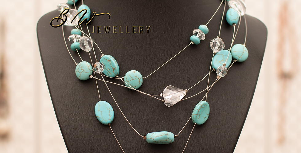 Polished turquoise & Glass