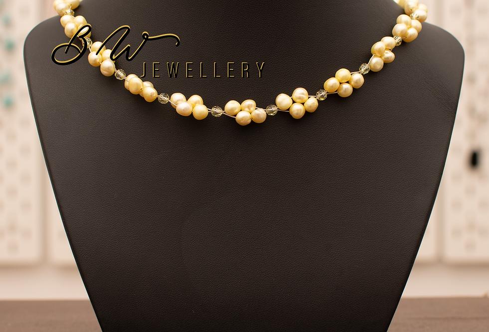 Yellow Pearl & Swarovski Necklace