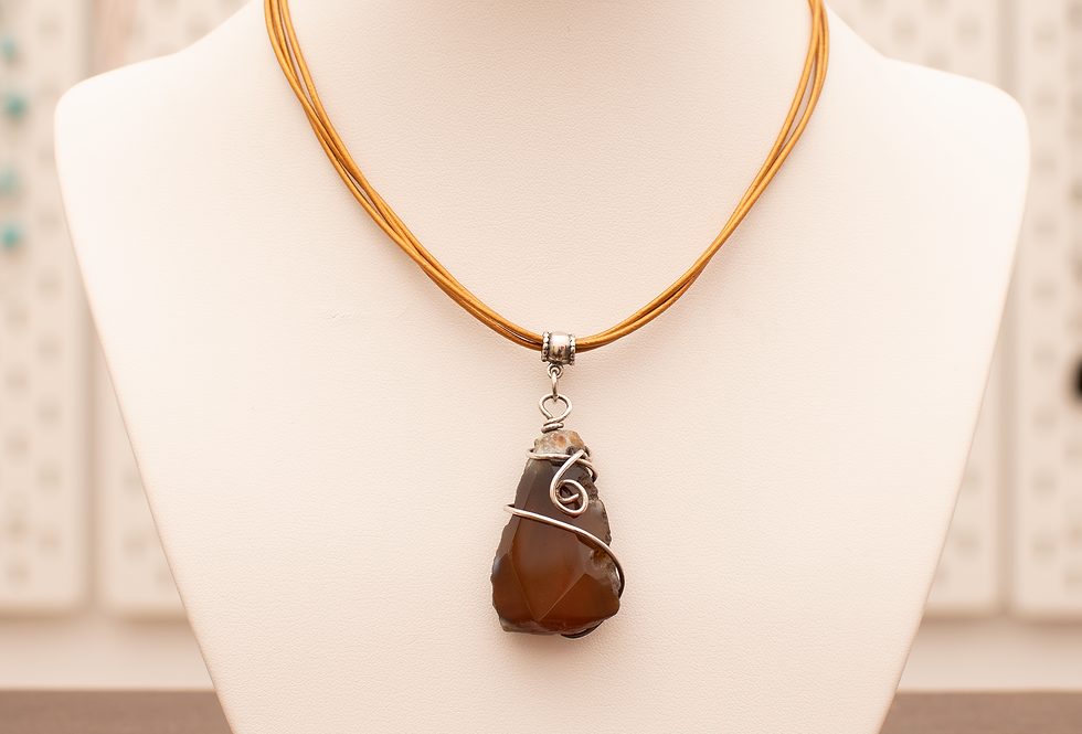 Agate & Silver on Rounded Leather Cord