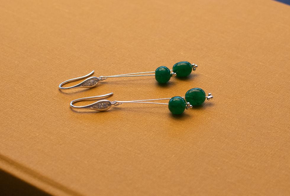 Polished Emerald Bead Earrings