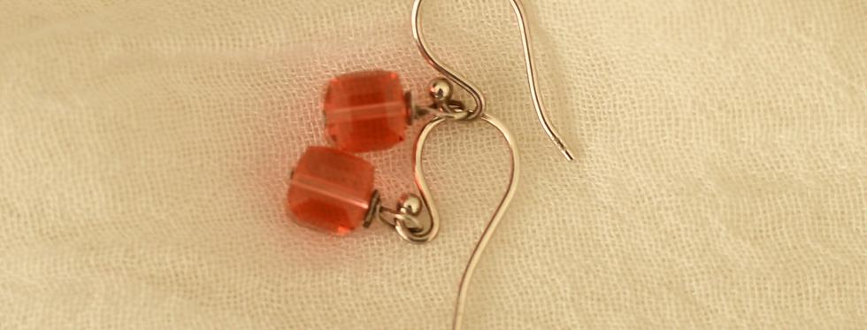 Red Swarovski Silver Hook Earrings