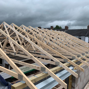 Footings being prepared for inspection and Roof Trusses being installed in Bucknall