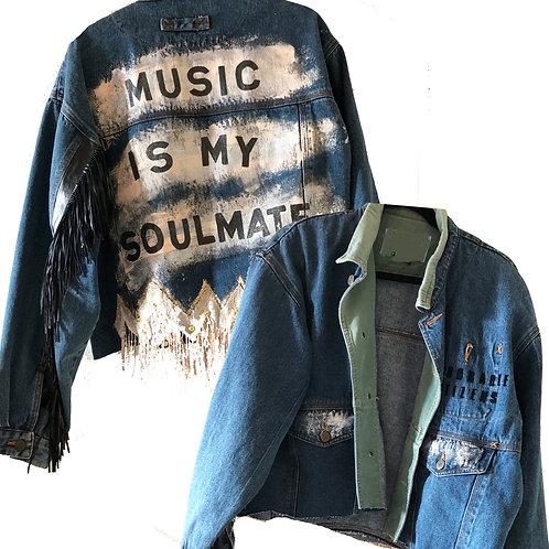 Music is my Soulmate Handpainted fringe Denim Jacket