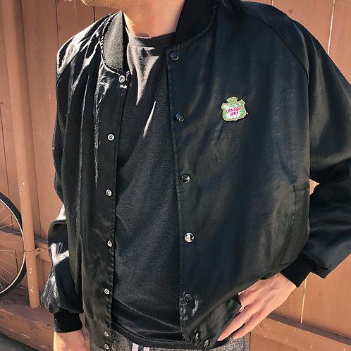 Vintage 1975 black Satin Bomber Jacket XL Unisex