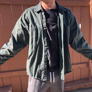 Vintage Men's Army Green  Button Up Camping Shirt