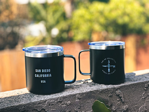 Double Walled 14 Oz Stainless Steel Thermal Mug Black San Diego Limited Edition.