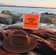 Hippies Use Back Door Neon Orange Battery Operated Lightbox Sign