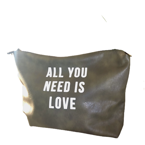 All You Need is Love Army Green Faux Leather Zippered Clutch Bag