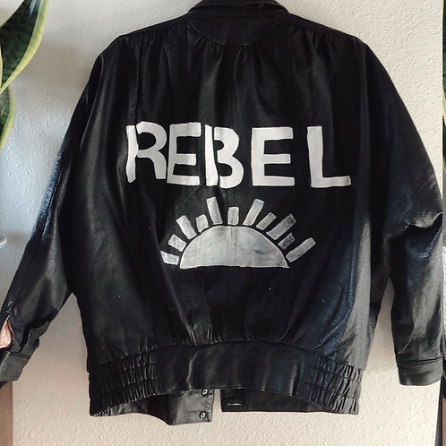 Handpainted  REBEL European Italy Black Faux Leather Moto Bomber Jacket