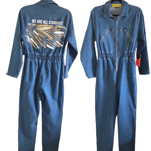 NEW custom Made Long Sleeve Denim Front Zip Jumpsuit Bowie We Are All Stardust