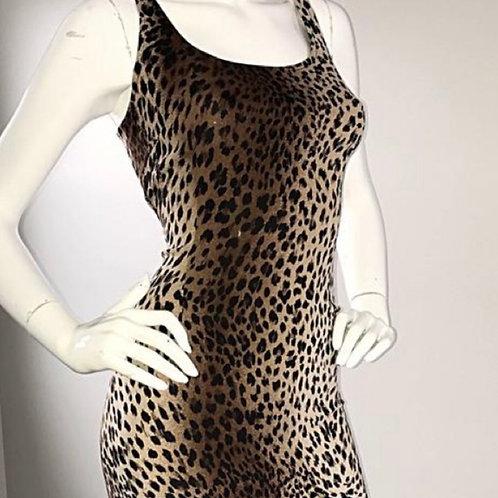 Moschino Vintage 90s Designer Cheetah Print Bodycon Dress