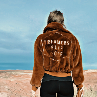 Dreamers Have Hope Vegan Faux Fur Brown Bomber Jacket and Lined with Satin